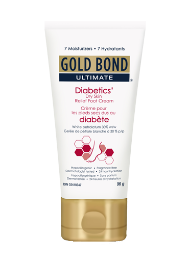 Image of Gold Bond Ultimate Diabetics' Dry Skin Relief Foot Cream 96g tube.