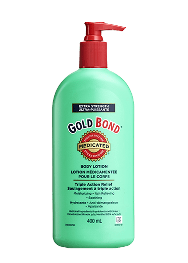 Image of Gold Bond Medicated Extra Strength Medicated Body Lotion 400 ML pump bottle.