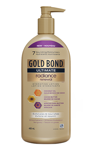 Image of Gold Bond Ultimate Radiance Renewal Hydrating Lotion 400ml pump bottle with new decal.
