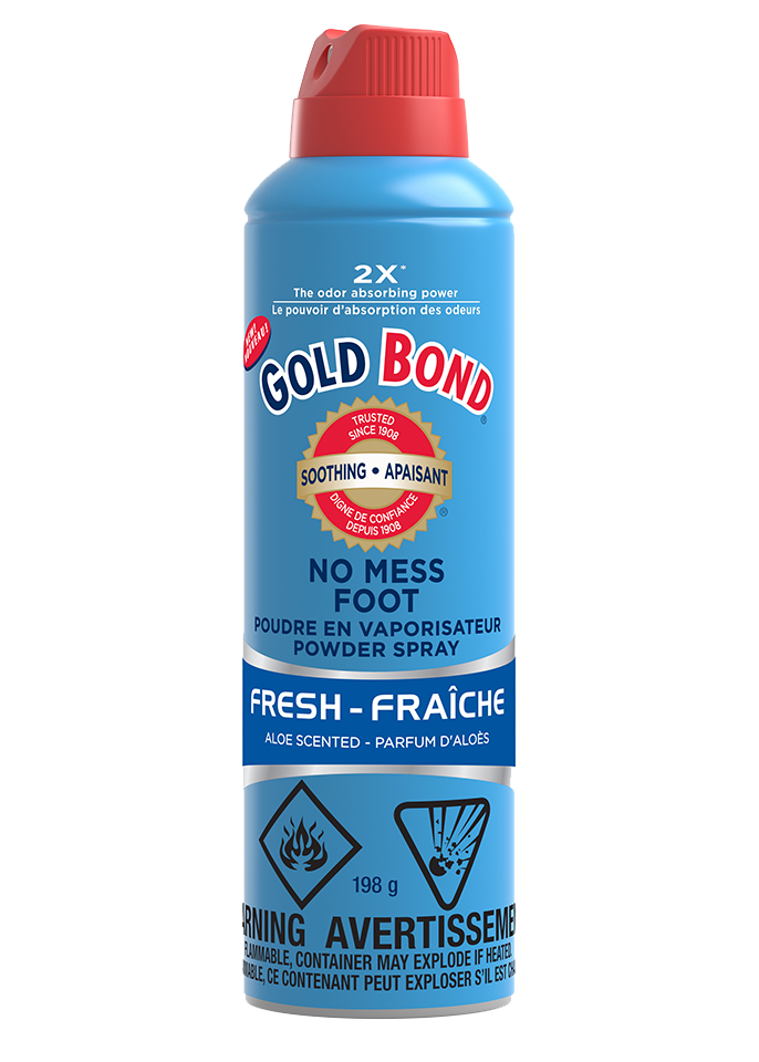 Image of Gold Bond® No Mess Foot Spray in a canister 198 g with a 360° spray.