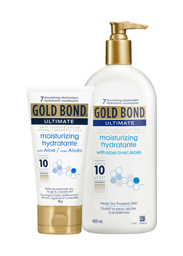 Image of Gold Bond Moisturizing Skin Therapy Cream & Lotion Cream - 225 mL tube, Lotion - 396 mL pump bottle.