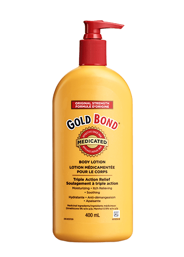 Image of Gold Bond Medicated Original Strength Body Lotion 400 mL pump bottle.